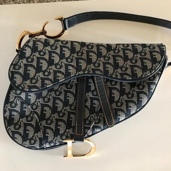 bf3375ef7d8c Christian Dior Handbags - CHRISTIAN DIOR Denim Logo Saddle Bag